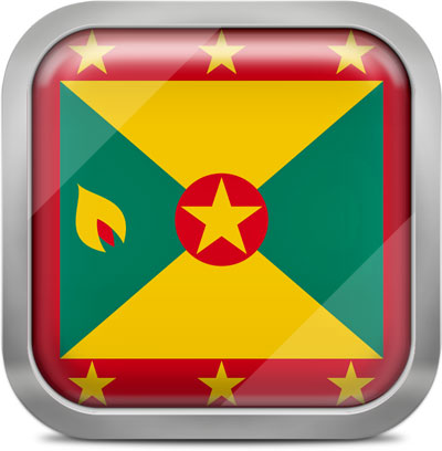 Grenada square flag with metallic frame