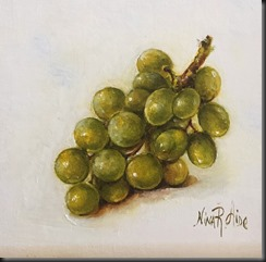 Green Grapes Cluster Fruit Small Painting