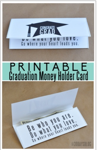 printable graduation money card holder
