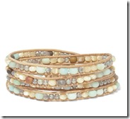 Chan Luu leather and silver tone multi stone wrap bracelet