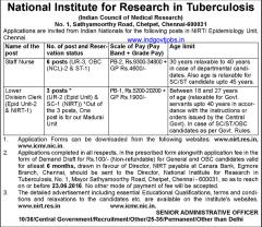 NIRT Chennai Recruitment 2016 indgovtjobs