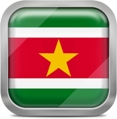 Suriname square flag with metallic frame