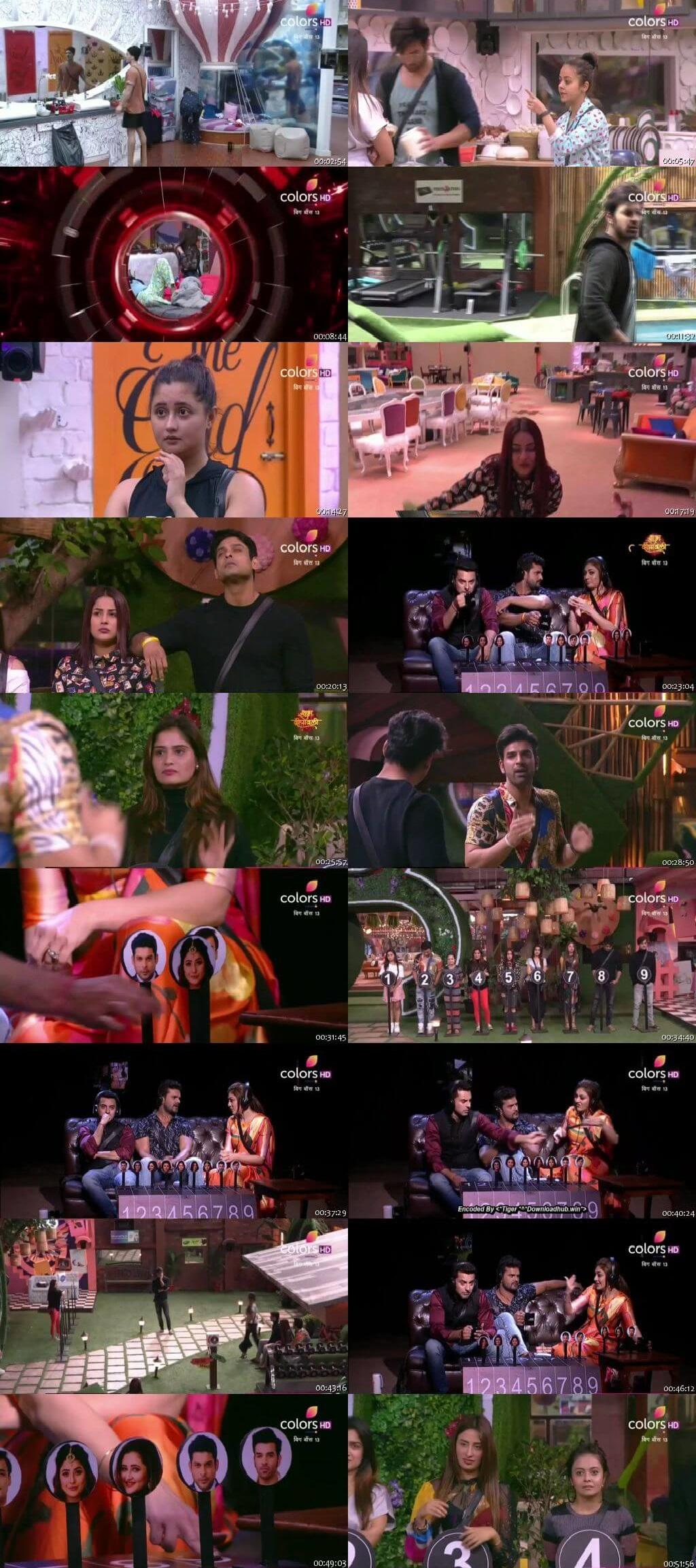 Screenshots Of Hindi Show Bigg Boss 13 1st November 2019 Episode 32 300MB 480P HD
