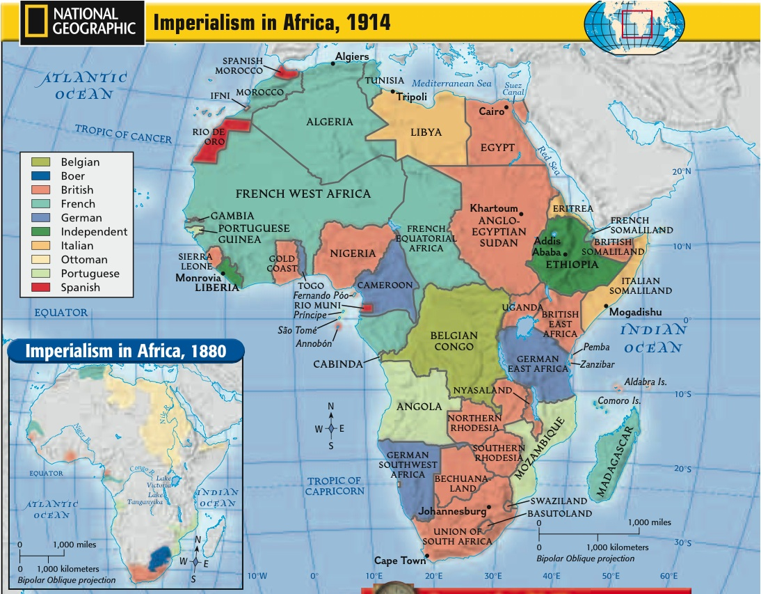 Map Of Africa During Imperialism.Map Of Africa In 1880