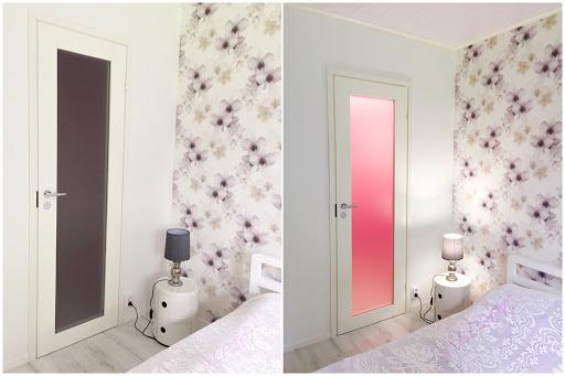 vaatehuone valaistus satiinilasiovi pinkki