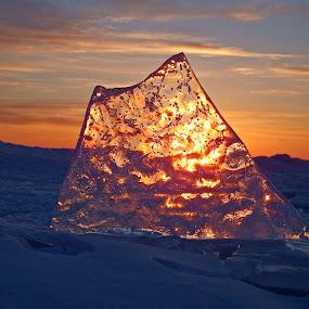 Solid Gold by Alison Gimpel - Landscapes Weather ( duluth, beaches, minnesota, winter, ice, lake superior, sunrise, #GARYFONGDRAMATICLIGHT, #WTFBOBDAVIS )
