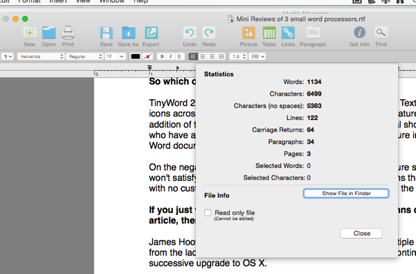 Screenshot of Tinyword Statistics window