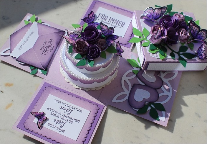 Explosion Box Wedding Purple Glitter Butterflies 00