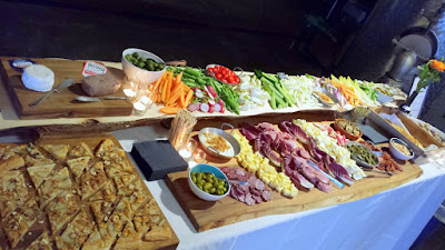 Clear Creek Distillery Turns 30! Some of the food spread courtesy of Tournant featuring local cheese and charcuterie with olives, nuts, pickles and crackers, seasonal crudites with roasted shallot dip, salt boiled potatoes with romesco sauce, and Blue Cheese Tart with Williams Pear Brandy Poached Pears and Oregon Hazelnuts