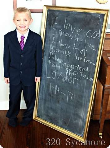 landon baptism chalkboard