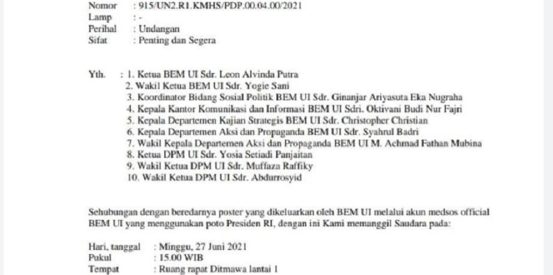 "Ini Surat Lengkap Pemanggilan BEM UI Pengkritik Jokowi ""The King Of Lip Service"""