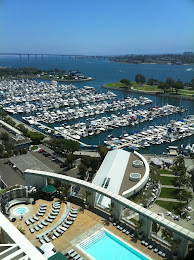 View of San Diego Harbor from our hotel room.