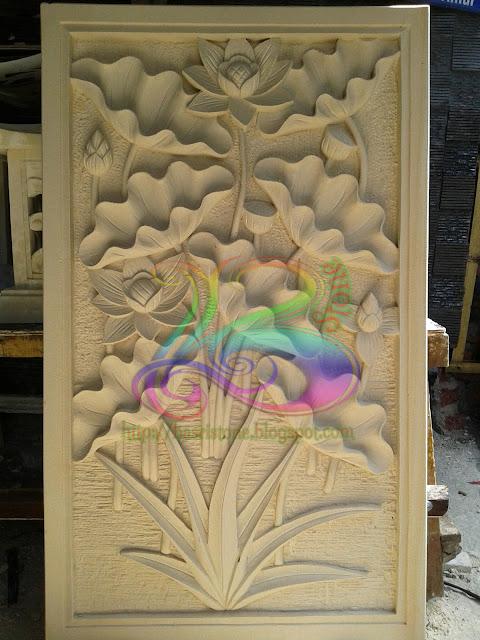 Relief lotus batu paras jogja