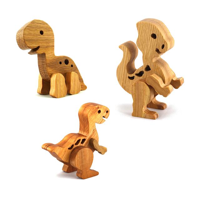 Handmade Wood Toy Baby Dinosaurs