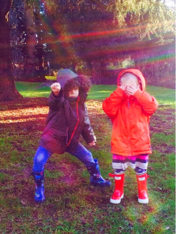 Blake and Maegan in Joules Wellies red seafarer and tractor wellies