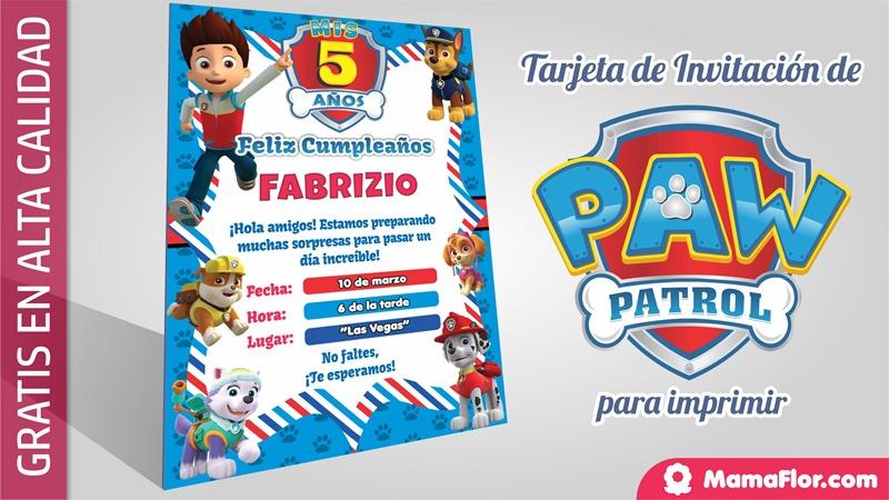 Paw Patrol - Tarjeta Invitacion Cumpleaños Imprimir Gratis