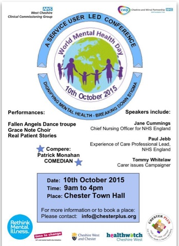 Please See Below The Event Poster And Blog From Julie On Service User Led Conference World Mental Health Day October 10th
