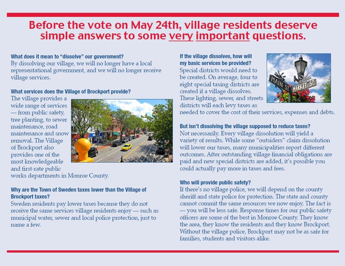 Vote No To Dissolution ProBrockport - Town of sweden zoning map