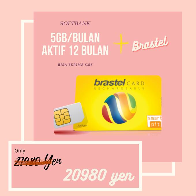 SOFTBANK 5GB/BLN AKTIF 12BULAN + BRASTEL CALL NUMBER 050