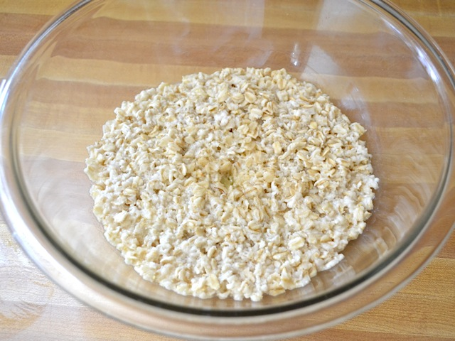 Water added to oats in bowl