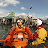 Reversing into the floating lifeboat pen - Sunday 4 May 2014.  Photo: RNLI Poole/ Dave Riley