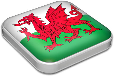 Flag of Wales with metallic square frame