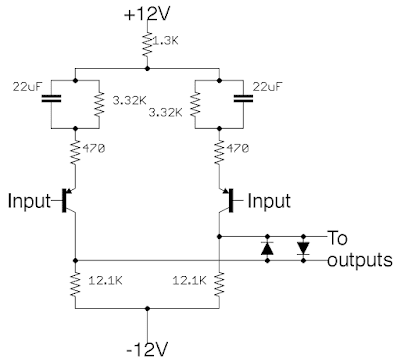 The differential amplifier circuit of the WW card.