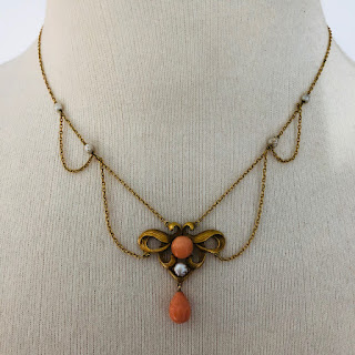 14K Gold, Pearl, & Coral Necklace