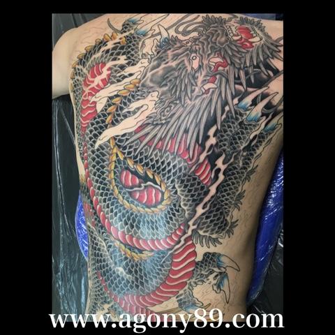 刺青 デザイン、和彫り、背中一面、昇り龍、龍、竜、刺青デザイン画像集、タトゥーデザイン 画像集、タトゥースタジオ アゴニー アンド エクスタシー、初代彫迫、ブログ、ほりはく日記、刺青 彫迫、