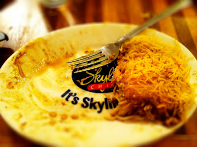 favorite skyline chili plate empty home delicious stock photo