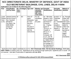NCC Directorate Delhi Recruitment 2016