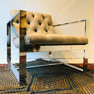 Tufted Contemporary Chrome Armchair #2