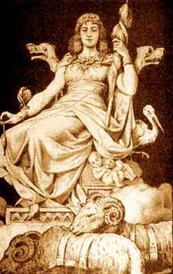 Frigg With Her Distaff And Animals, Asatru Gods And Heroes