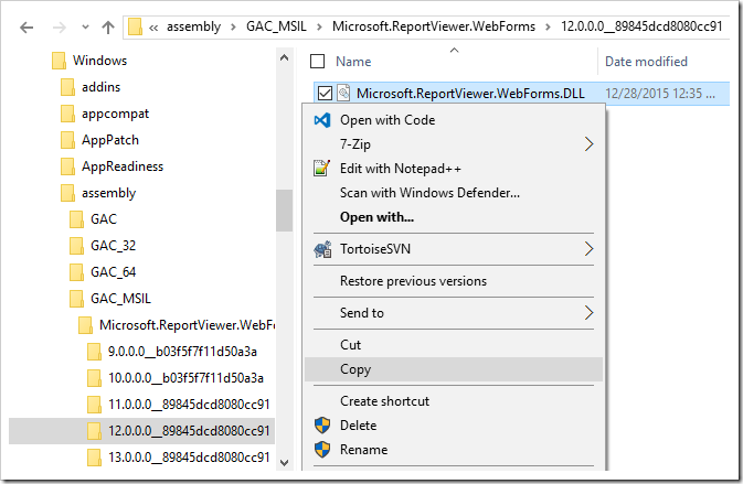 Creating a copy of the ReportViewer DLL.