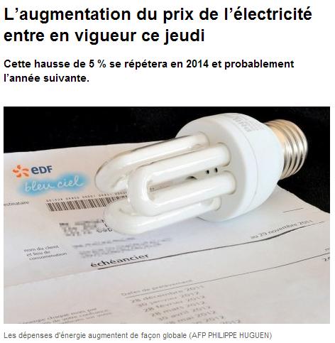 L'électricité augmente de 5%