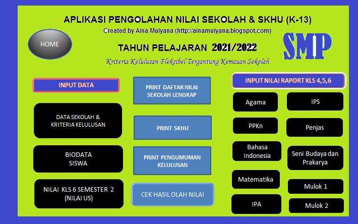 aplikasi SKHU SMP Tahun 2021 Kurikulum 2013 format excel plus Pengumuman Kelulusan Tahun 2021
