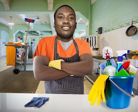Meek Mills Works In Kitchen, Cleans Floor, Walls To Get Few Cents In Prison
