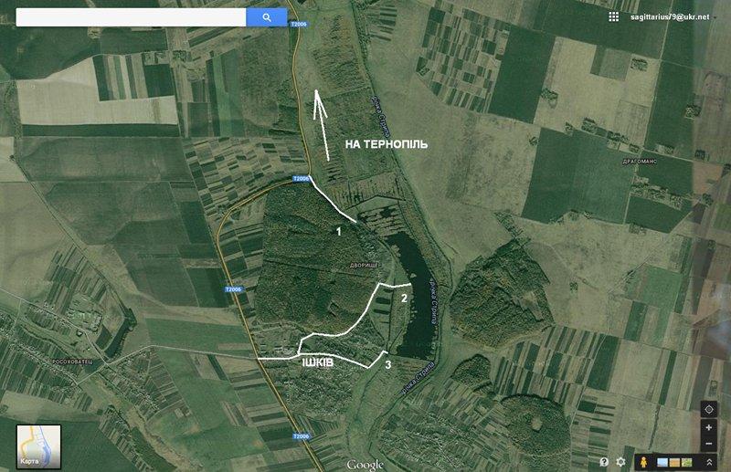 Схема проїзду до водойми в селі Ішків