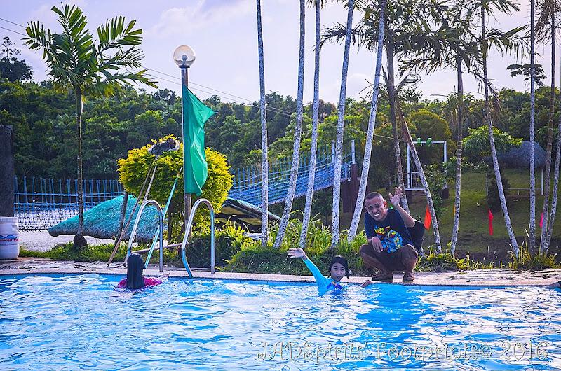 Daniz enjoying the swimming pool at Caliraya Mountain Lake Resort amidst the cool mountain air