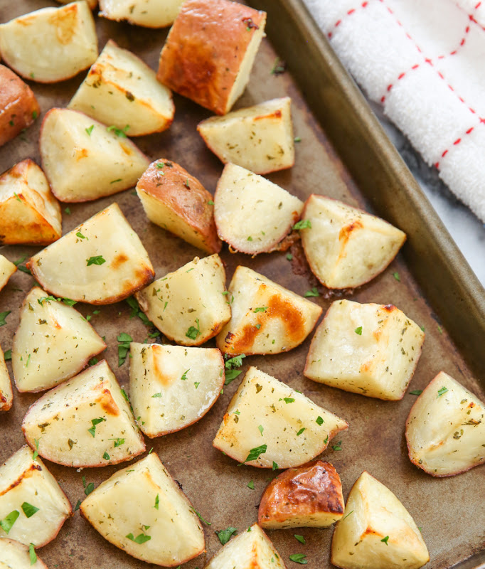 overhead photo of Parmesan Ranch Roasted Potatoes on a sheet pan