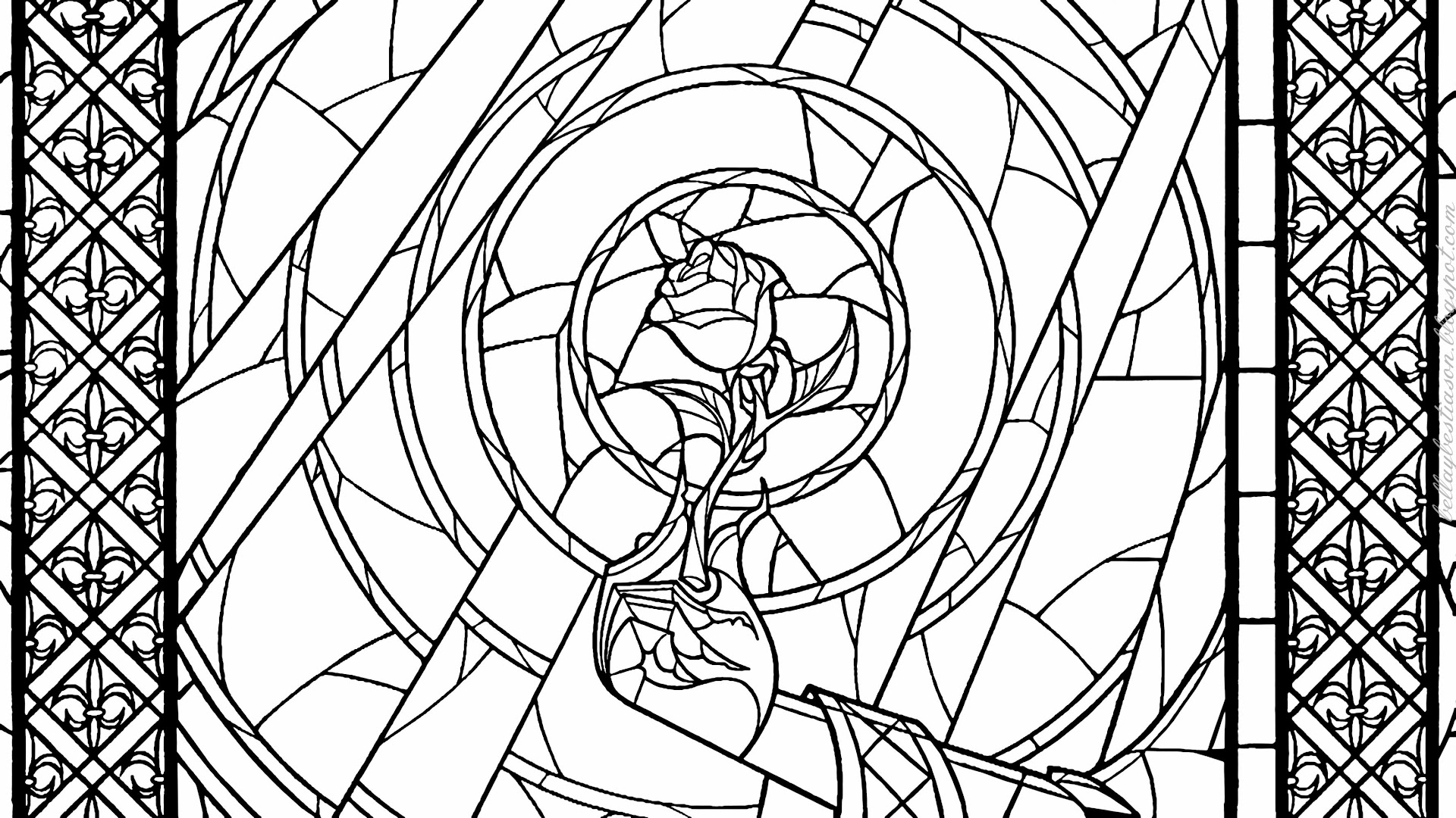 Top Beauty And The Beast Rose Coloring Page Heart Library Craetive Kids Colouring