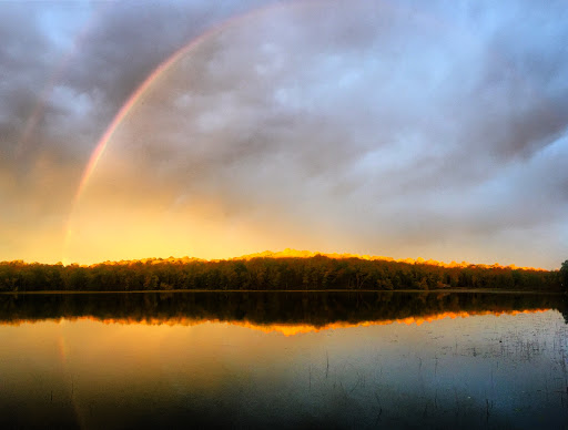Gorgeous fall sunrise and rare rainbow before rain. September 20th.