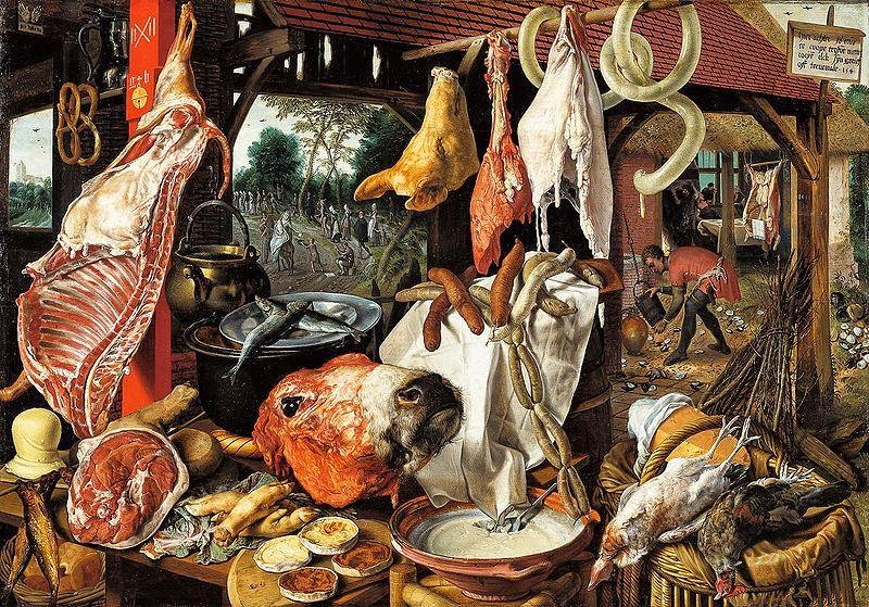 Pieter Aertsen - Butcher's Stall with the Flight into Egypt