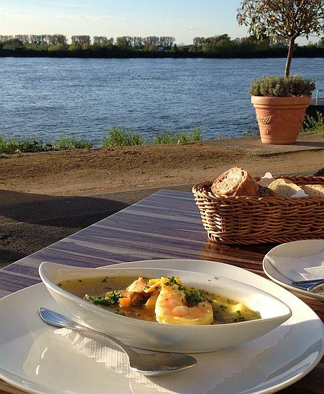 Fischsuppe am Rhein im Hotel Rheingold in Gernsheim