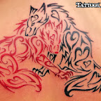 tribal red black wolves - tattoo meanings