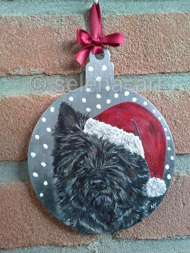 Kersthanger donkere Cairn Terrier