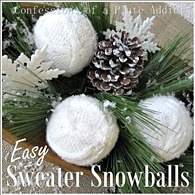 CONFESSIONS OF A PLATE ADDICT Wintery Centerpiece with Easy Sweater Snowballs2