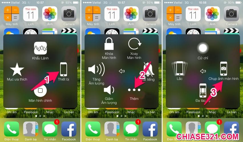 Cách chụp ảnh màn hình điện thoại iphone bằng phím home ảo
