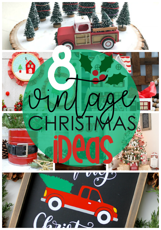 8 Vintage Christmas Ideas at GingerSnapCrafts.com #holiday #Christmas #homedecor #forthehome