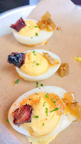 Reverend's BBQ appetizer of Deviled Eggs- Three Halves with Brisket Burnt Ends & Picallilli